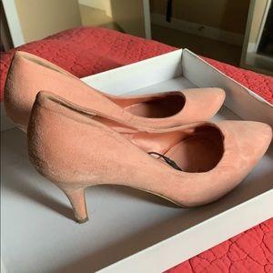 Baby pink suede pumps